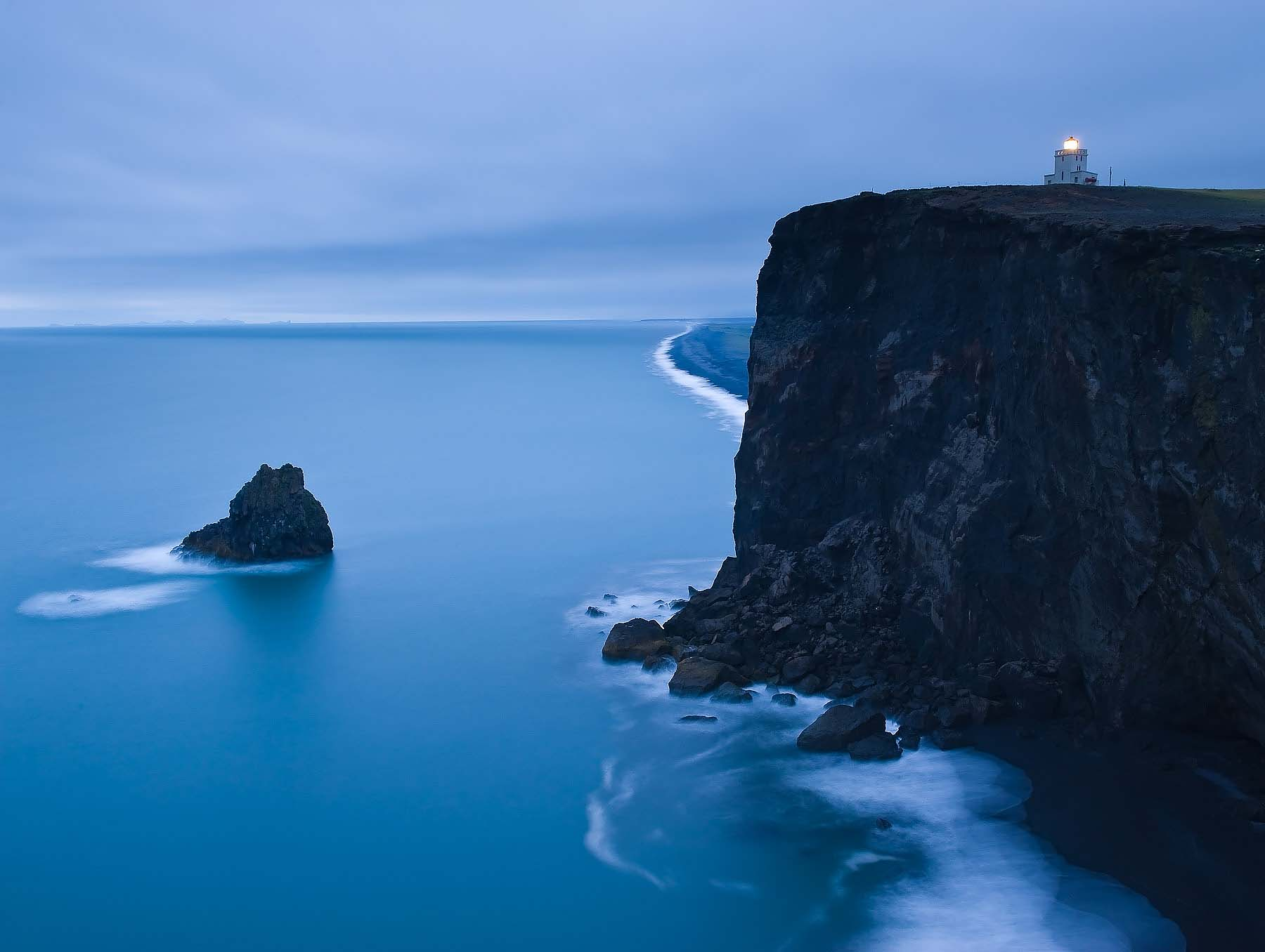 Dyrholaey-Lighthouse-Coast-Dusk-Iceland
