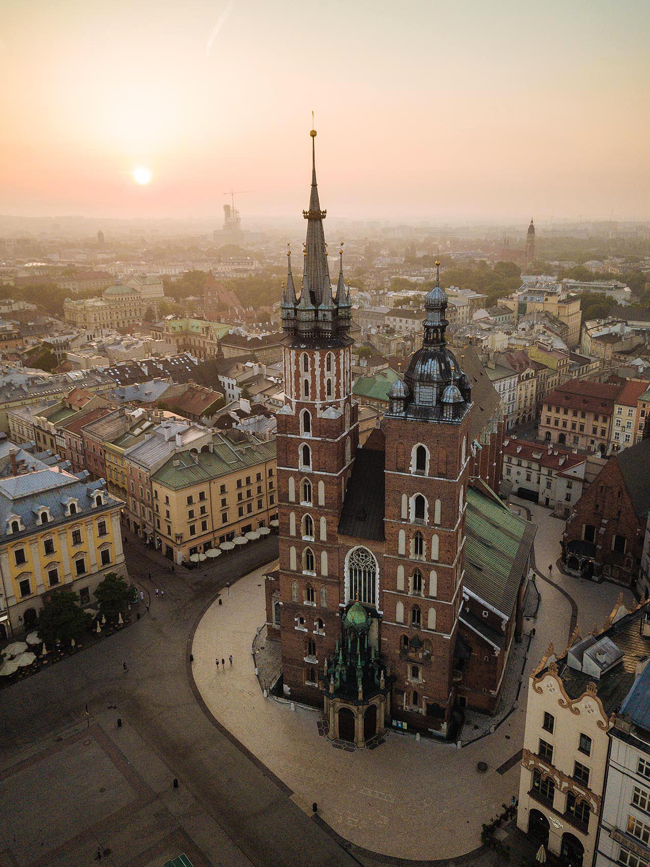 aerial-view-saint-marys-basilica-market-square-dawn-architecture-krakow-poland-travel