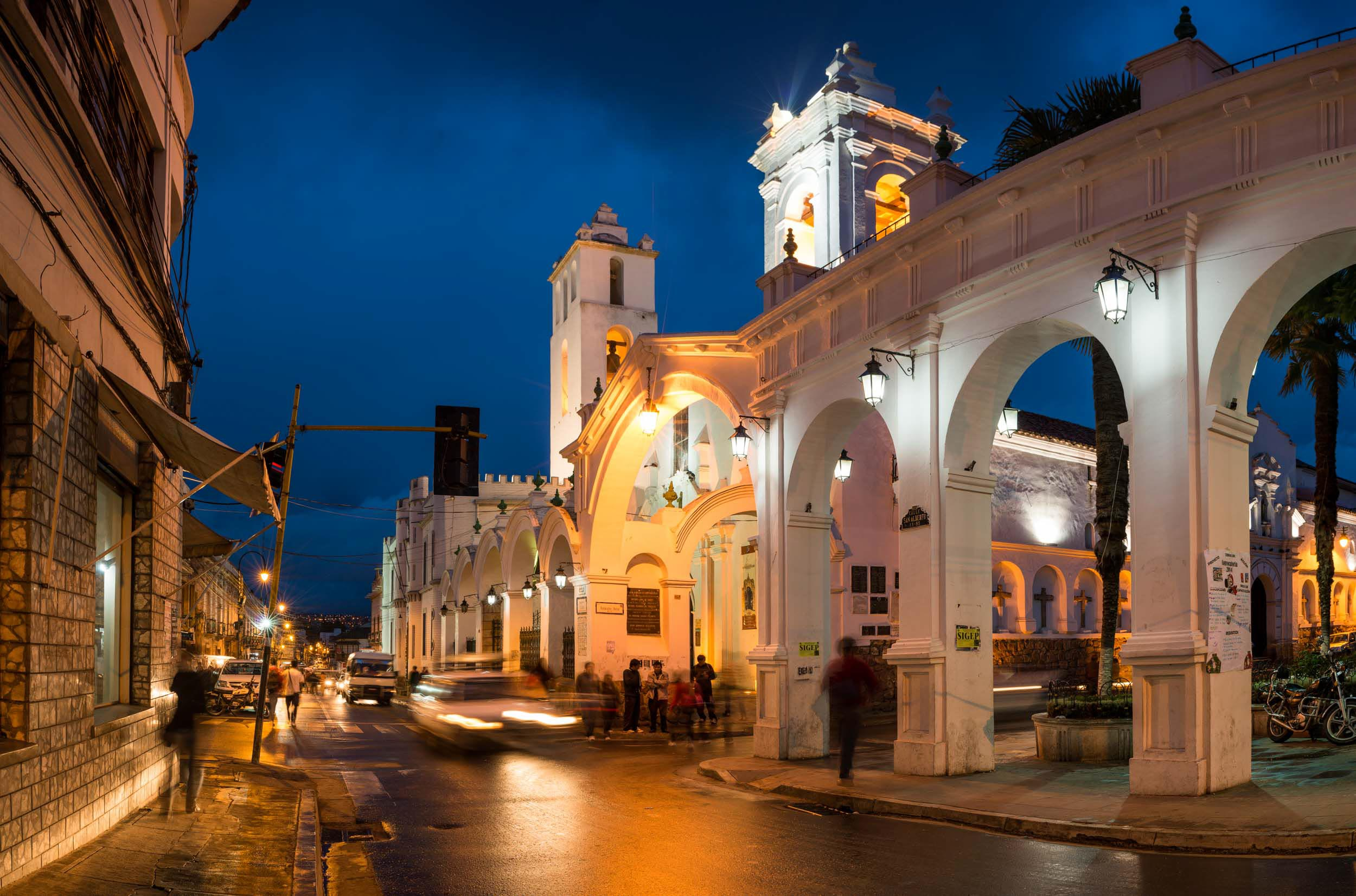 church-architecture-night-sucre-bolivia