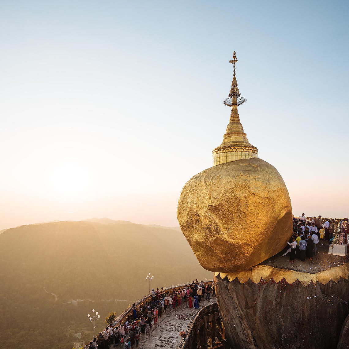 mount-kyaiktiyo-golden-rock-sunset-mon-state-myanmar-temple-holy-site-buddhism-asia