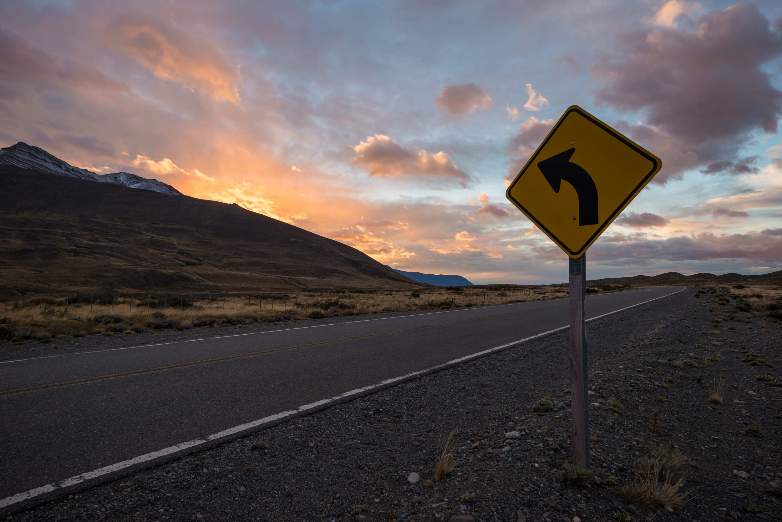 road-sign-dawn-scenic-patagonia-argentina-sunrise
